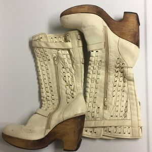 Kenneth Cole New York Leather Weaved Boot Shoes